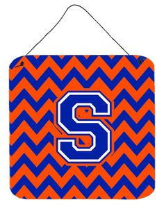 Letter S Chevron Orange and Blue Wall or Door Hanging Prints CJ1044-SDS66