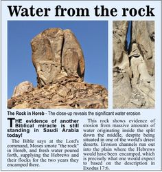 Evidence of water from the rock at Horeb, Saudi Arabia.