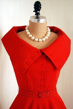 1950's Vintage Fiery Ruby-Red Couture by TimelessVixenVintage