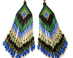 Turquoise seed bead earrings beaded earrings di Anabel27shop