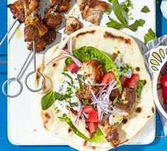 Discover the best BBC Good Food barbecue recipes for your family! From refreshing watermelon slushies to Greek-style chicken kebabs, you won't be disappointed. Chicken Souvlaki, Chicken Gyros, Chicken Kebab, Chicken Spices, Grilled Chicken, Kebab Recipes, Grilling Recipes, Cooking Recipes, Chicken Recipes