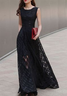I would totally buy this if they had my size! Black Plain Plaid Elegant Pearl Yarn Sleeveless Scoop Neck Organza Skater Stylish Maxi Dress