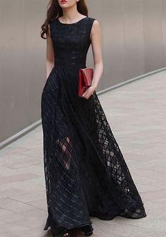 Vestido largo liso A cuadros de hilo perla elegante sin mangas escote redondo organza patinador elegante negro