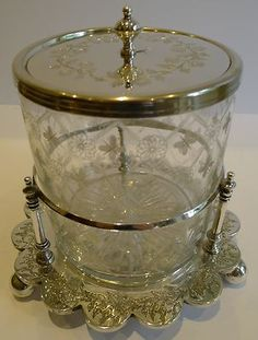 Outstanding Antique English Decorated Glass Silverplated Biscuit Box C 1880 | eBay