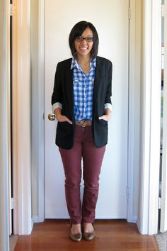 Putting Me Together: gingham shirt with colored skinny's and blazer