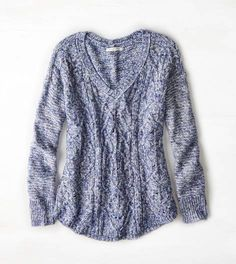Blue AEO Cable Knit V-Neck Sweater