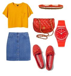 """Untitled #58"" by angela229 ❤ liked on Polyvore featuring Keds, STELLA McCARTNEY, Monki, Chanel, Swatch and LeJu"