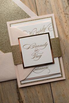 elegant wedding invitation with monogram, blush and gold, glitter wedding invites, letterpress