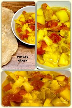 Potato gravy also known as aloo tamatar ki sabzi, is a very popular dish in India, quite popular in northern part of India. It's a dish in a spicy and flavourful gravy. Indian Food Recipes, Vegan Recipes, Ethnic Recipes, Potato Gravy, Homemade Recipe, Curries, Spicy, Potatoes, Vegetarian
