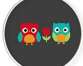 Buy 4 get 1 free ,Buy 6 get 2 free,Cross stitch pattern, Cross-StitchPDF,red owl and blue owl,zxxc0247