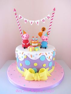 Peppa & George ready to party. by Noreen@ Box Hill Bespoke Cakes