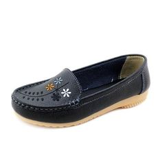 Flower Embroidery Leather Soft Comfortable Casual Slip On Flat Shoes is cheap and comfortable. There are other cheap women flats and loafers online. Loafers Online, Shoes Online, Fall Booties, Nursing Shoes, How To Make Shoes, Buy Shoes, Women's Shoes, Fashion Flats, Types Of Shoes