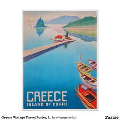 Greece Vintage Travel Poster, Island Of Corfu Poster