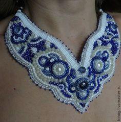 "Buy Necklace ""Blue Lace"" - blue, beadwork, handmade work of authorship, necklaces"