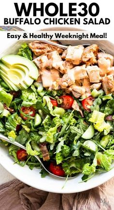 This whole 30 recipe for buffalo chicken salad comes together quickly and easy with the most succulent and juicy grilled chicken. The salad is healthy, filling, paleo, low carb, and keto compliant too. Perfect for meal prep and leftovers. #movementmenu #chickensalad #whole30recipes #lowcarb #keto Easy Salad Recipes, Paleo Recipes, Real Food Recipes, Beef Salad, Chicken Salad, Grilled Chicken, Savory Salads, Healthy Salads, Healthy Eats