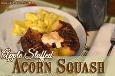 Of course substitue the butter and sugar with coconut oil and raw honey - Crock Pot Apple Stuffed Acorn Squash Slow Cooker Desserts, Crockpot Dessert Recipes, Crock Pot Desserts, Thm Recipes, Veggie Recipes, Fall Recipes, Slow Cooker Recipes, Whole Food Recipes, Healthy Recipes