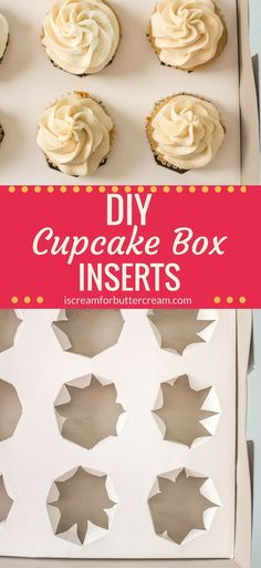 Traveling with cupcakes just got easier. and these DIY Cupcake Box Inserts are super easy to make. If you ever have trouble transporting cupcakes, these inserts will keep them from toppling over and you can use any box you have. Diy Cupcake Stand, Cupcake Display, Cupcake Boxes, Cupcake Gift, Cupcake Wars, Fondant Cookies, How To Make Cupcakes, Mini Cupcakes, Cake Pops