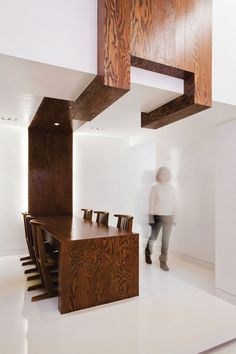 White with wood. Restaurant La Ville de Pins by Bang. Nice contrasts.