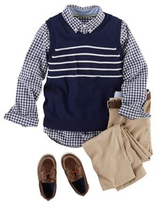 This most dapper of outfits features a Gingham button-front, chino pants and a cozy knit sweater vest. Add a handsome belt and matching boat shoes for added style. Toddler Boy Fashion, Toddler Girl Style, Little Boy Fashion, Kids Fashion, Boys Style, Men Fashion, Fancy Dress For Kids, Cute Outfits For Kids, Toddler Outfits