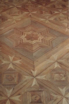 Intricate parquet floor by Jean-François Hache. I have bad associations with cheap parquet, but this is lovely. Parquet Flooring, Wooden Flooring, Hardwood Floors, Floor Design, House Design, Discount Area Rugs, Parquetry, Floor Patterns, My New Room