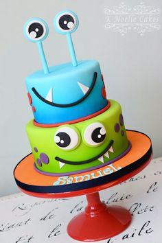 Monster Theme birthday cake by K Noelle Cakes