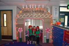 Created a cardboard Gingerbread/Santa's Workshop front for the kindergarten playhouse. We even made Santa and elf outfits to dress up in. Christmas Classroom Door, Christmas Door Decorations, Office Christmas, Preschool Christmas, Christmas Activities, Christmas Themes, Kids Christmas, Christmas 2017, Christmas Stuff