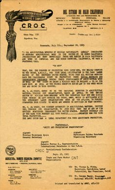 This flyer was distributed by the Agricultural Workers Organizing Committee's (AWOC) national director, C. Al Green, and the Conferación Revolucionaria de Obreros y Campesinos (CROC) to alert Mexican agricultural workers working legally in the United States that they have the right to Social Security, unemployment insurance, and a minimum wage, and that they should register with the Farm Labor Sector. Max Mont Collection. San Fernando Valley History Digital Library.