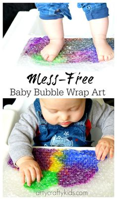 Bubble Wrap Art - Sensory Baby & Toddler Activity Fabulous sensory art project for kids with bubble wrap. Ideal for baby sensory and mess-free painting!Fabulous sensory art project for kids with bubble wrap. Ideal for baby sensory and mess-free painting! Baby Sensory Play, Sensory Art, Baby Play, Sensory Kids, Sensory Play For Babies, Bubble Games For Kids, Baby Sensory Bags, Sensory Rooms, Baby Art Activities