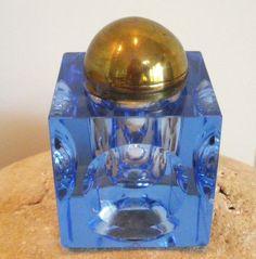 Antique Vtg Cut Cornflower Blue Crystal Glass Inkwell Ink Well BEAUTIFUL ! | eBay