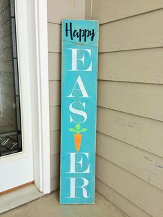 welcome sign for front door, tall wood porch sign, Easter front porch decor – etsy Front Yard Decor, Front Porch Signs, Front Porches, Easter Projects, Easter Crafts, Easter Ideas, Easter Decor, Porch Wood, Porch Welcome Sign