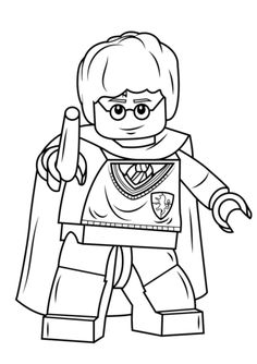 Click to see printable version of Lego Harry Potter with Wand Coloring page