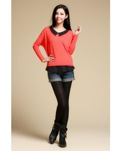 Red Bat Sleeve Doll Collar Chiffon Splicing Sweater - Sweaters - apperal Indressme$41.40