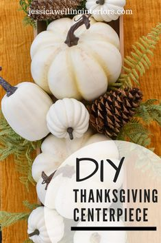 Make a Super-Easy Pumpkin Centerpiece! This easy DIY Fall centerpiece is the perfect simple neutral decor for your table. It's inexpensive and you can use it all season- especially for Thanksgiving! White Pumpkin Centerpieces, Low Centerpieces, Thanksgiving Centerpieces, Easter Centerpiece, Table Decorations, Apartment Decoration, Decoration Bedroom, Room Decor, Diy Design