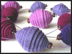 felt bead, button, collar, necklac