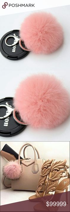 "SOFT PINK FUR POMPOM KEYCHAIN All boutique items are 100% brand new in original packaging So many celebrities have been spotted with these soft real fur pompom style keychain attached to their handbags or keys.  Color: blush pink Material: lead-tin alloy, silver plated imitation rhodium, rabbit fur Roughly 3.2"" Accessories"