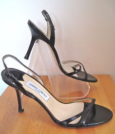 JIMMY CHOO sz 40, NEW Black Strappy Snakeskin High Sandals sz 9.5-10, $200 on ebay