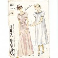 late 1940s early 1950s ladies nightgown vintage sewing pattern