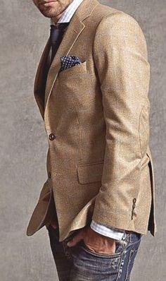 Khaki sport coat & jeans - classic casual