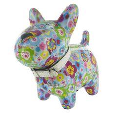 Pomme Pidou Oscar Dog Animal Money Bank - Blue Flowers