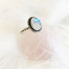 Orlaith - Rainbow Moonstone & Sterling Silver Ring – Druzy Dreams