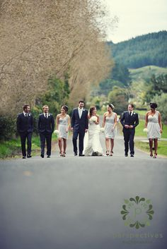 Bridal Party walking up the drive