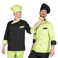 bf3048daf67 9308 chaqueta unisex de cocina, en manga larga, con botones y en color  negro o pistacho combinado
