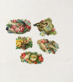 Victorian Die Cut Calling Card Embossed Lithograph Bird Vintage Scapbook by GardenBarn on Etsy