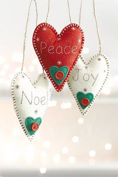EziBuy Christmas Shop - Felt Heart Decorations Set - EziBuy New Zealand