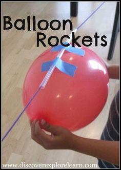 Simple balloon science experiments for kids using balloons. Make a balloon rocket, light up a light bulb with a balloon, blow up a balloon with chemistry, and more! These balloon experiments are super fun and are an easy science experiment for kids to do. Science Projects For Kids, Science For Kids, Science Fun, Science Ideas, Summer Science, Simple Science Experiments Kids, Science Lessons, Science Party, Summer Lesson