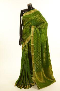 Mysore Crepe- crepe green saree with blouse
