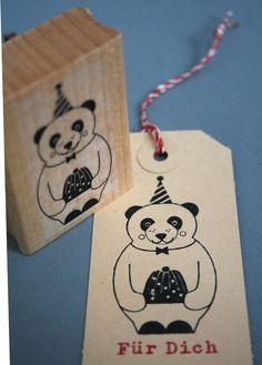 Stempel mit Geburtstagsbär mit leckerer Torte, Für Dich / stamp birthday bear with cake, for you by perlenfischer via DaWanda.com