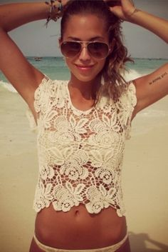 Lace over swim suit.