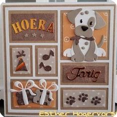 Yvonne Broeke liked this post from May. Dog Cards, Baby Cards, Kids Cards, Dog Scrapbook Layouts, Marianne Design Cards, Baby Shower Cards, Die Cut Cards, Card Making Techniques, Animal Cards