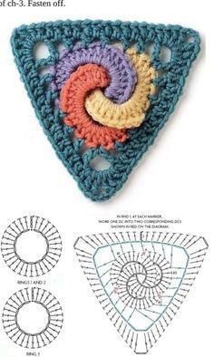 De Croche De Croche barbante De Croche com grafico De Croche de mao De Croche festa - Bolsa De Crochê Crochet Triangle Pattern, Crochet Yoke, Crochet Motif Patterns, Crochet Lace Edging, Crochet Diagram, Crochet Squares, Crochet Chart, Crochet Designs, Tapestry Crochet